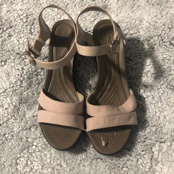 ca1e6b00a CROCS Shoes - NWOT Crocs brown women Leigh li cross strap wedges